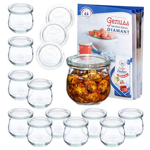 MamboCat 12er Set WECK-Tulpenglas 370 ml + 12 Glas-Deckel RR80 + Rezeptheft | Marmeladen-Gläschen Klar | Ø 9 cm | Einmachen, Einkochen & Konservieren | Einweck-Zubehör