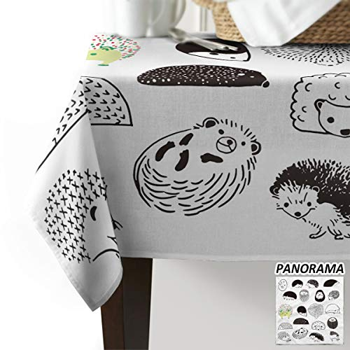 Royalreal Rectangle Table Cloth Oil-Proof Spill-Proof Tablecloth Hand Draw Hedgehog Chic Woodland Critters Printed Decorative Table Cover for Indoor and Outdoor Use 54x87 inch