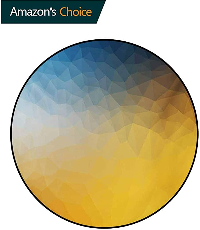 RUGSMAT Yellow And Blue Non Slip Area Rug Pad Round Abstract Polygon Style Fractal Gradient Geometric Background Art Protect Floors While Securing Rug Making Vacuuming Round 31 Inch