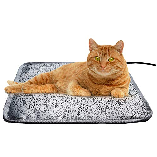 Cat Heating Pads Electric Heating Pad Waterproof Adjustable Warming Mat with Chew Resistant Steel Cord (Letter, 17.7''x17.7'')