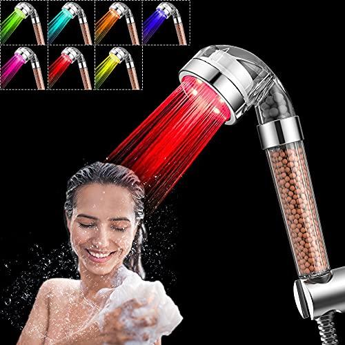 Cabezal de ducha LED, 7 colores cambiantes, cabeza de ducha de alta presión, para prevenir la piel seca y el pelo, aspersor de iones negativos y cloro doble filtro de ahorro de agua