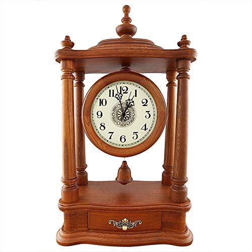 Reloj de sobremesa, mesa, madera de roble rojo, manto, reloj de escritorio, decoración para el hogar, mudo, decoración de habitación antigua, regalos creativos, con pilas (color: marrón), reloj d