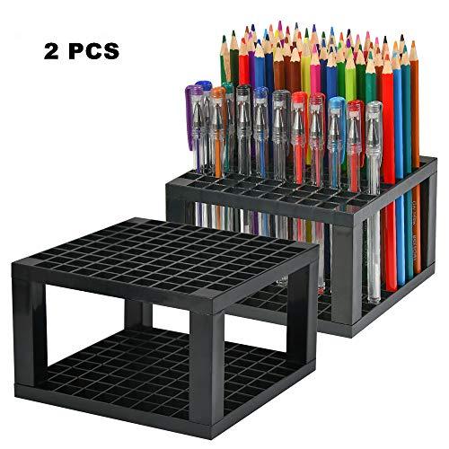 ATPWONZ 96 Hole Art Plastic Pencil Brush Holder Detachable Desk Stand Organizer Holder for Gel Pens,Paint Brushes,Colored Pencils,Markers & More