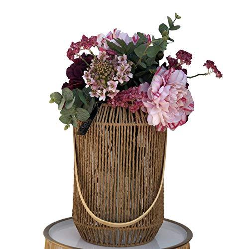 BOTANIC DESSIGN Künstlicher Blumenstrauß Künstliche Blumenvase aus Hortensie Granat, Pfingstrosen Bicolor, eine Agatanthus-Blume und achelnde Blüte mit Ägypten