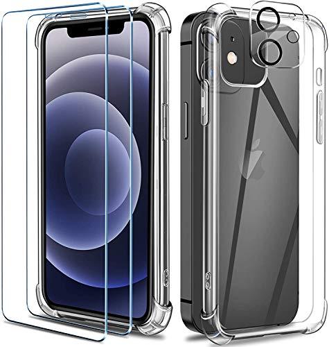 AROYI Funda Ultra híbrido Compatible con Samsung Galaxy A12 Carcasa Trasera Anti-amarilleo con 2 Piezas de Vidrio Templado -Transparente
