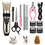 Qazxsw Pet Dog Cat Clipper Grooming Trimmer Hair Clippers Animal Hair Professional Electric Low Noise Rechargeable Shaver Kit