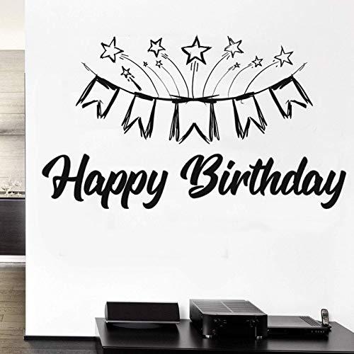 AGiuoo Feliz cumpleaños con la Etiqueta engomada de la Bandera Etiqueta de la Pared para la decoración del salón de Eventos del hogar y del cumpleaños 57x31cm