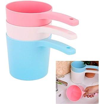 3Pcs Thicken Plastic Bathing Ladle Water Dipper with Handle Kitchen Ladles Bath Cups