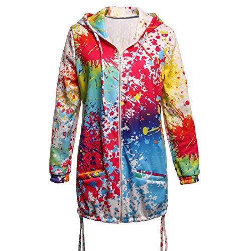 FIDOZ Women's Long Sleeve Full Zipper Tie Dye Coat Jacket Hooded Hoodies Sweatshirt Pullover Cardigan Womens Color Block Tie-dye Loose Fit Plus Size Longshirt Tunic Tops Blouse T-shirt with Pockets