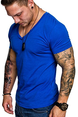 Amaci&Sons Oversize Herren Slim-Fit V-Neck Basic T-Shirt V-Ausschnitt 1-0006 Royalblau M