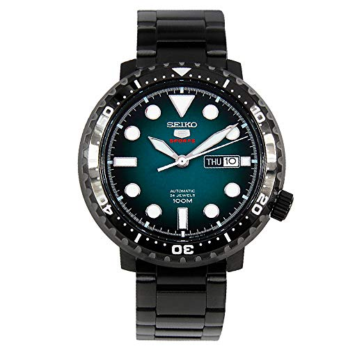 SEIKO 5 Sports 100m Automatic 'Bottle Cap' Steel Black IP Turquoise Dial Watch SRPC65K1