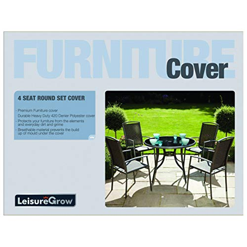 Leisuregrow 4 Seat Grey Round Garden Furniture Set Cover - up to 120cm Table