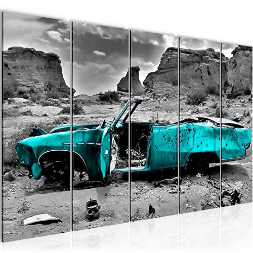 Bilder Auto Grand Canyon Wandbild 150 x 60 cm Vlies - Leinwand Bild XXL Format Wandbilder Wohnzimmer Wohnung Deko Kunstdrucke Blau 5 Teilig - MADE IN GERMANY - Fertig zum Aufhängen 602256b