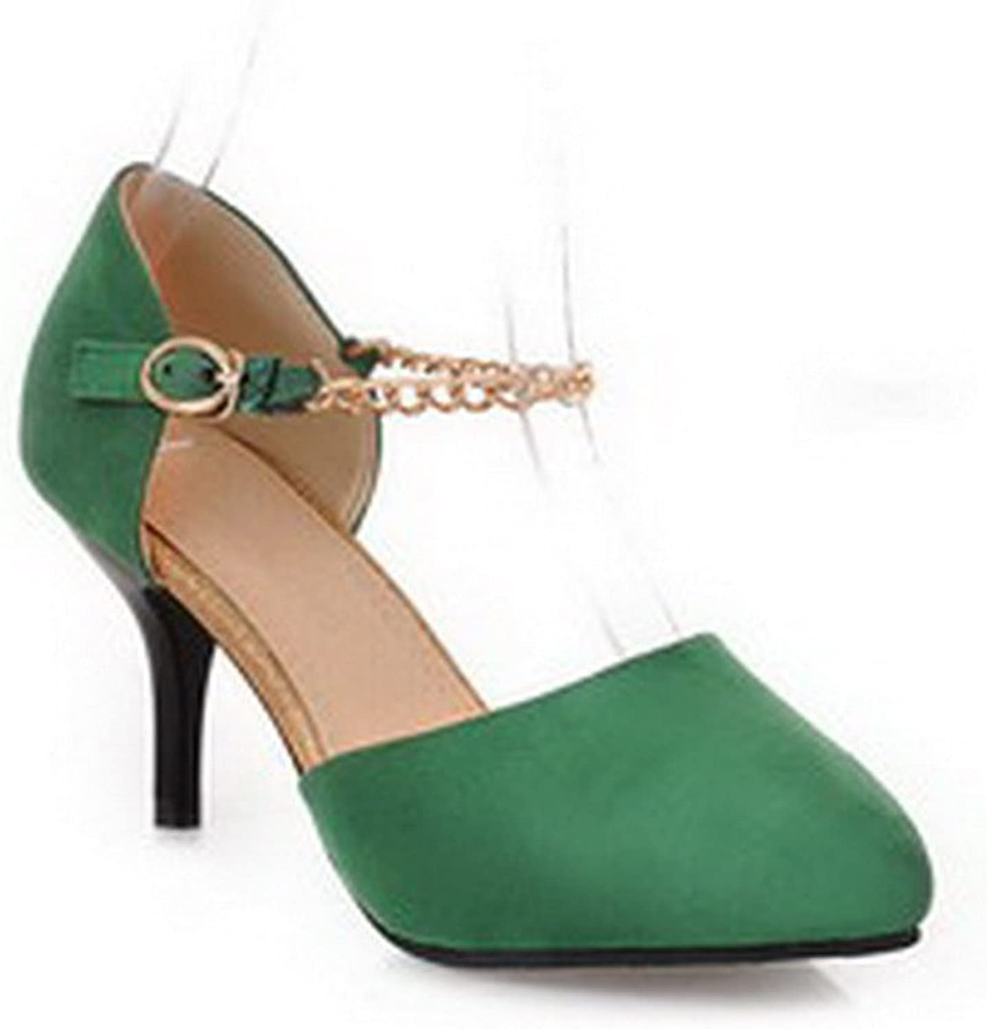 WeiPoot Women's Closed Toe Pointed Toe High Heel Spikes Stilettos PU Frosted Solid Pumps with Chains, Green, 7.5 B(M) US