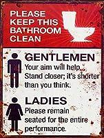 この浴室を清潔に保ってください メタルポスタレトロなポスタ安全標識壁パネル ティンサイン注意看板壁掛けプレート警告サイン絵図ショップ食料品ショッピングモールパーキングバークラブカフェレストラントイレ公共の場ギフト