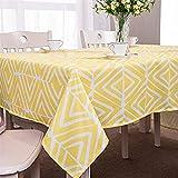 X-Labor Abwaschbar Tischdecke Eckig Wasserdicht Oxford Stoff Tischtuch Tischwäsche Pflegeleicht Garten Zimmer Tischdekoration Gelb 140 * 180cm