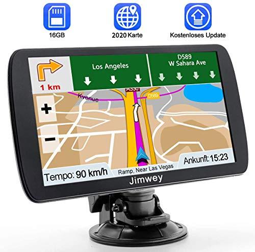 Jimwey GPS Navi Navigation für Auto LKW PKW KFZ 7 Zoll Navigationsgerät Online Kostenloses Kartenupdate POI Blitzerwarnung Sprachführung Spurassistent 2018 EU UK Karte (9 Zoll)