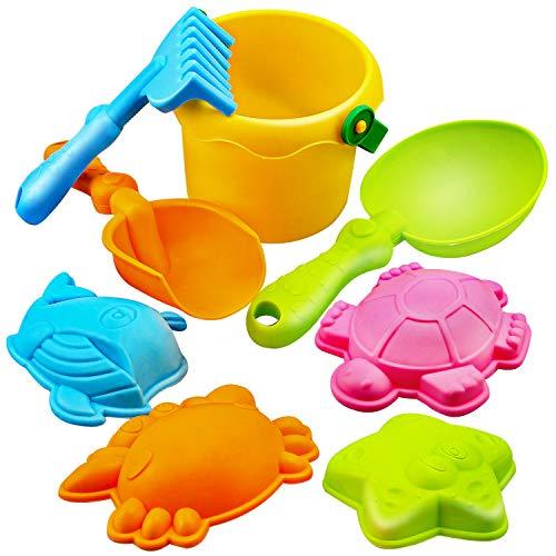 Dreamon Giocattoli da Spiaggia con Borsa a Rete Spiaggia di Sabbia Giocattoli Set Giochi Sabbia per i Bambini Babies, Colori Assortiti (8 Pezzi)
