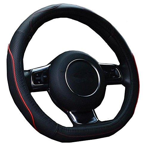 """HCMAX D Typ Fahrzeug Lenkradabdeckung Auto Lenkradschutz D-Form Durchmesser 38cm (15\"""") Echtleder"""