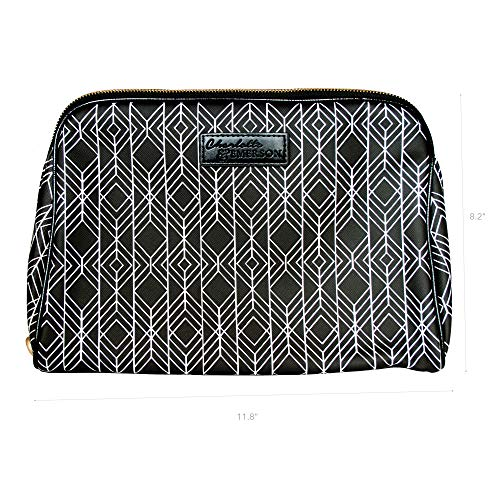 Milan Cosmetic Bag - Charlotte & Emerson - Makeup, Toiletry and Skincare Travel Case - Beauty Product Pouch with Pockets - Portable Zippered Organizer for Lipstick, Brush, Foundation, Palette