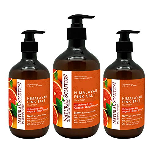 Natural Solution Himalayan Pink Salt Liquid Hand Soap,Moisturizing & Refreshing, Blood Orange - 14 oz (3 Pack), Model: 8647B-3-pack