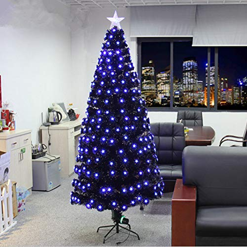 SDYPDQ 1.8 M / 180Cm volles schwarzes blaues Pentacle-buntes geführtes Weihnachtsbaum beleuchtetes Weihnachtsbaum-Garten-Hotel
