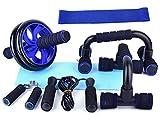 Kit Ruda Abdominales Fitness, 5 en 1 Cuerda de Saltar, Push Up Bars, Pinza de Mano, Fortalecedor de Mano, Rodillo para Entrenamiento en casa.