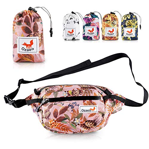 Ozaeo Travel Waist Bag, Water Resistant, Lightweight, Hiking Fanny Pack with 3-Zipper Pockets and Adjustable Strap Pink