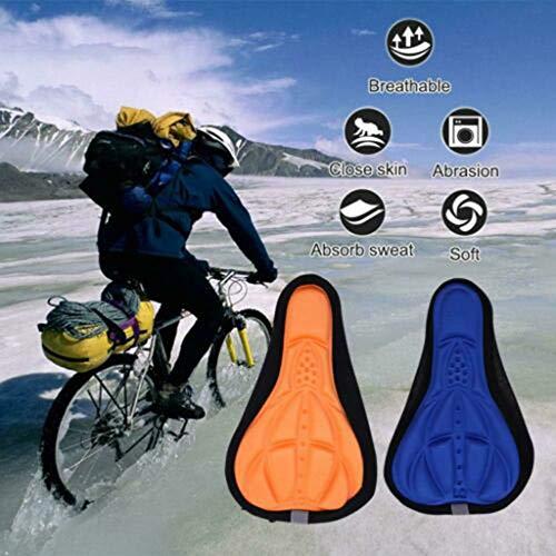 Janly Liquidación Venta Deportes & Aire Libre Ciclismo Bicicleta Silicona Gel Pad Asiento Sillín Cubierta Suave Cojín Sillín Sillín Sillín Bicicleta, Accesorios para Bicicleta (A)