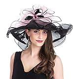 Lucky Leaf Chapeau d'église de Chapeau d'organza de Larges Femmes de Charme Floral de Chapeau pour la Soirée(Feuilles-Noir/Rose)