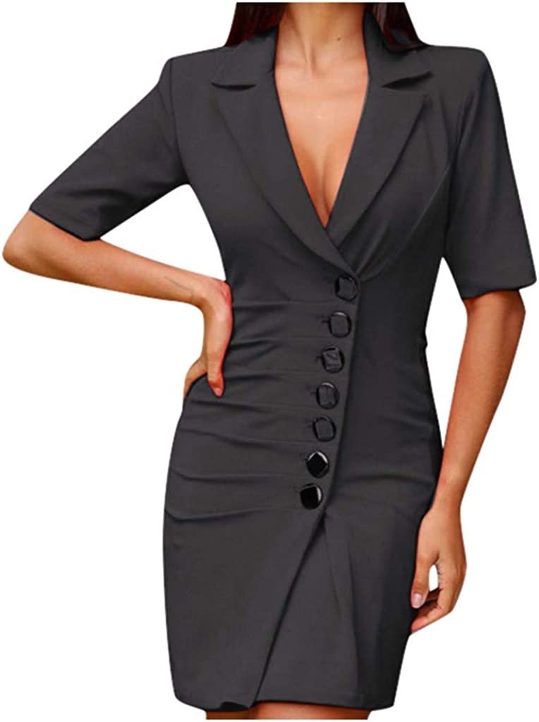 Kaideny Women Breasted Button Half Sleeve Dress Wear to Work Business Party Formal Cocktail Dress