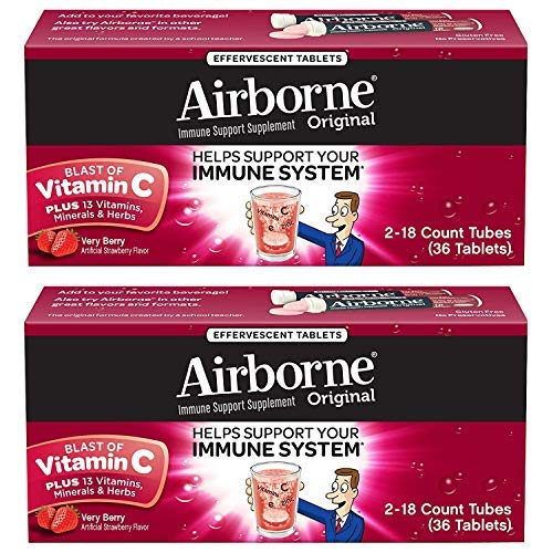 Airborne Very Berry Effervescent Tablets, 36 Count (2 Pack)