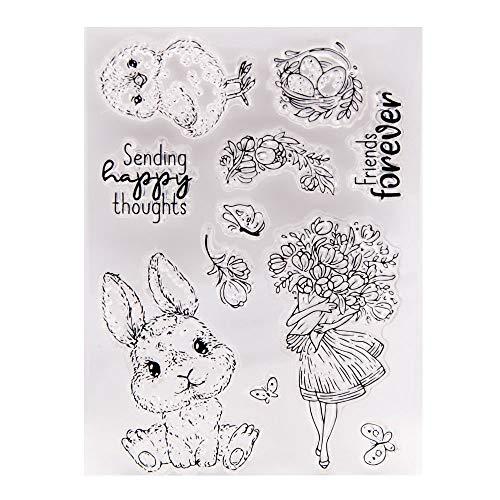 Arrietty Feliz huevo de Pascua Conejito Flores de Pollo Envío de Pensamientos Felices Sellos transparentes para hacer tarjetas Decoración y DIY Scrapbooking Herramientas Sellos de goma