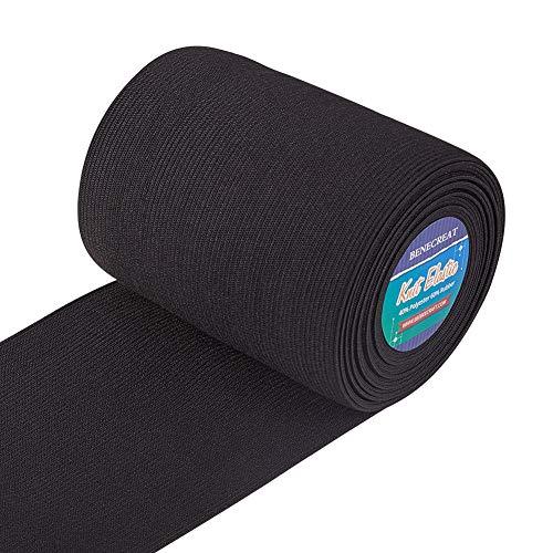 BENECREAT 5 Meter/5,5 Yards 100mm breit schwarz flach Gummiband schwere Stretch Gummiband zum Nähen von Kleidung Handwerk Projekt
