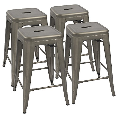 Devoko Metal Bar Stools 24' Indoor Outdoor Stackable Barstools Modern Style Industrial Vintage...