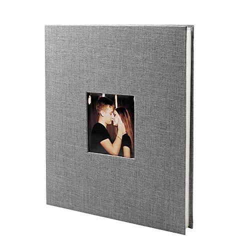 SACHUKOT Álbum de fotos autoadhesivo grande Álbum de recortes magnético 40 páginas magnéticas de doble cara Tapa dura de lino DIY 28 x 27 cm con dos bolígrafos de metal-Gris