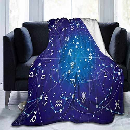 Manta mullida, constelación de zodiaco y planetas, coordenadas originales de patrón de cuerpo celestial, ultra suave, manta para dormitorio, cama, TV, manta de cama de 80 x 60 pulgadas