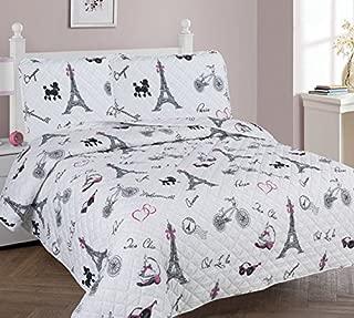Golden Linens Full Size 3 Pieces Printed Bedspread Coverlet Multi colors White Black Pink Paris Eiffel Tower Design Girls / Kids/ Teens # Paris Quilt