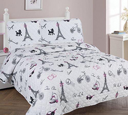 Golden Linens Full Size 3 Pieces Printed Bedspread Coverlet Multi Colors White Black Pink Paris Eiffel Tower Design Girls/Kids/Teens # Paris Quilt