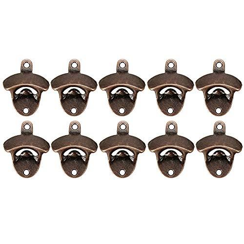 Abridor de botellas de montaje en pared (10 unidades) incluye tornillos de montaje, protección contra el óxido, para interiores o exteriores, barra de bronce resistente estilo retro abridor de cerveza