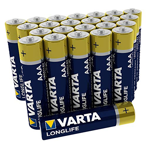 VARTA Longlife AAA Micro LR03 Batterie (24er Pack) Alkaline Batterien – Made in Germany – ideal für Fernbedienung Radio Wecker und Uhr