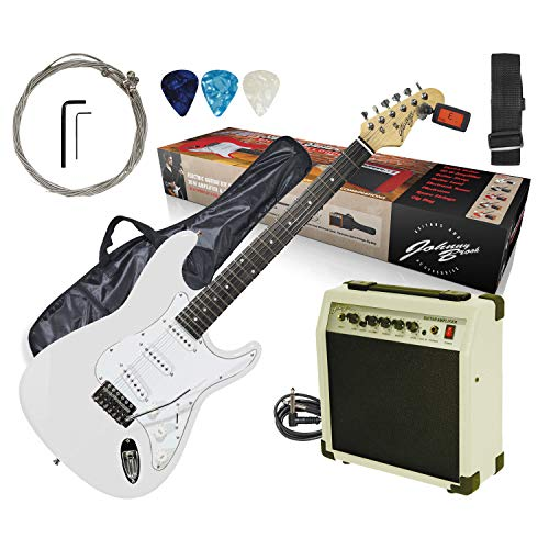 ELV White Johnny Brook JB402 Full Size Electric Guitar Starter Kit inc 20W...