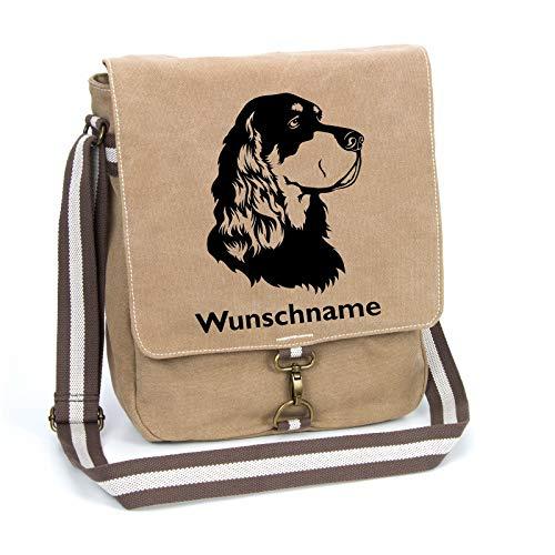 Gordon Setter Canvas Schultertasche Umhängetasche Tasche mit Hundemotiv und Namen personalisiert