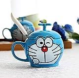 zipkp Doraemon Doraemon Gatto Creativo Cartoon Tazza Tazza in Ceramica Tazza da Acqua Tazza da caffè Tazza + Cucchiaio + Coperchio