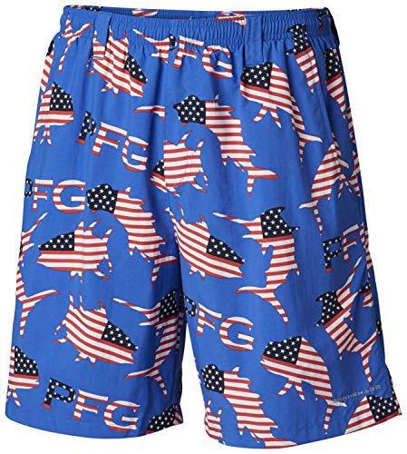 Columbia Pantalón Corto Deportivo para Hombre, diseño de pez Merica, Color Azul...
