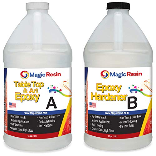 Magic Resin | 1 Gallon (3.8 L) | Premium Quality Clear Epoxy Resin Kit | Non-Toxic, Odor Free | High Gloss Thick Clear Coat | for Table Tops, Bar Tops, Counter Tops, Artworks | Great Color Stability