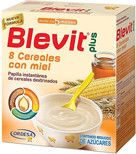 Blevit Plus 8 Cereales Miel - Papilla para Bebé con Harina de Avena y Harina de Trigo - Sin Azúcares Añadidos - Ayuda a regular el tránsito intestinal - Desde los 5 meses - 600g