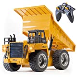 Top Race RC Remote Control Dump Truck Toy Alloy Metal and Plastic 4WD with Heavy Rubber Tires, for Kids and Adults, 2.4Ghz, Construction Hobby Model with Lights & Sounds, TR-112G