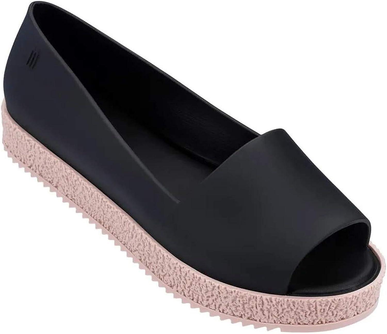 Melissa Women's Puzzle Peep Toe Flats Black