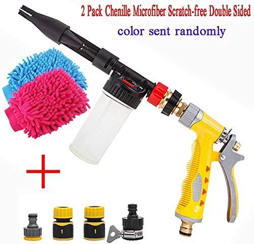 Yida - Pistola a spruzzo per schiuma per lavaggio auto, ugello 2-in-1,manuale, include guanti a doppio lato e ugelli per tubo da giardino